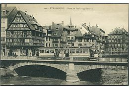 Strasbourg. Point du Faubourg National, Frankrig. Sporvogn no. 90 & 124 ses. Cartes La Cigigne no. 122.