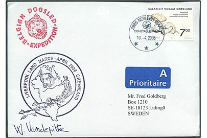 7 kr. Svampe på ekspeditionskuvert stemplet 3985 Nerlerit Inaat / Constable Pynt d. 10.4.2006 til Lidingö, Sverige. Sidestempel: Belgian Dogsled Expedition og Liverpool Land March - April 2006 Greenland.