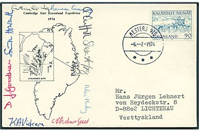 90 øre Postbefordring på ekspeditionsbrevkort fra Mesters Vig d. 6.7.1974 til Lichtenau, Tyskland. Fra Cambridge East Greenland Expedition 1974.