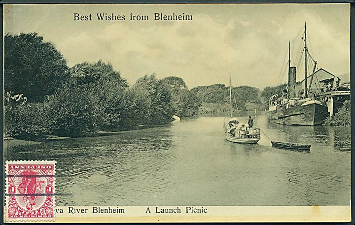 Best Wishes from Blenheim. A Launchs Pinic. Geo E. Perry u/no.