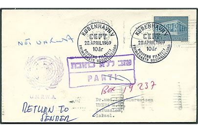 90 øre Europa udg. på FDC fra København d. 28.4.1969 til dansk læge ved UNNRA Hq (United Nations Relief and Rehabilitation Administration) i Jerusalem, Israel. Ubekendt og forsøgt ved UNRWA (United Nations Relief and Works Agency) og returneret til Danmark.