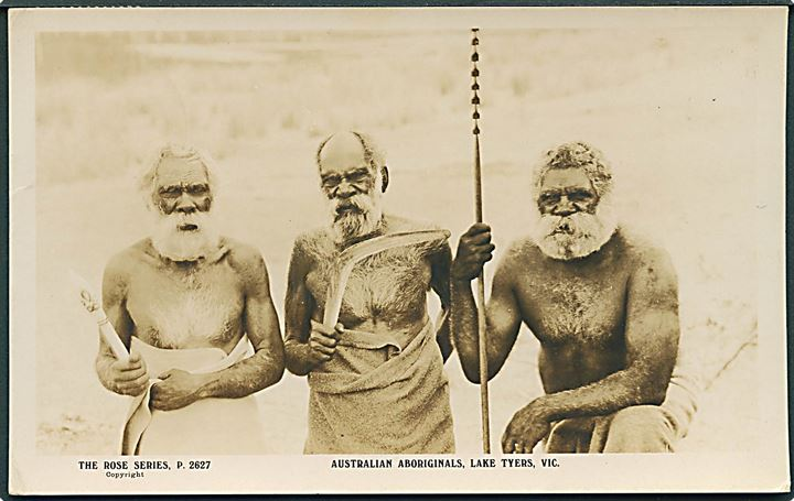 Lake Tyers, Vic. Australian Aboriginals. The Rose Series no. P. 2627. Frankeret med 1d George V fra Fremantle 1930 til Danmark.