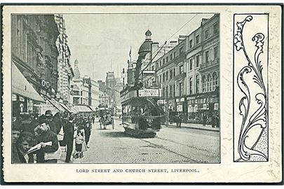 Liverpool. Lord Street and Church Street med sporvogne. U/no.