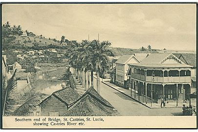 Southern end of Bridge, St. Castries, St. Lucia, showing Castries River Etc. U/no.