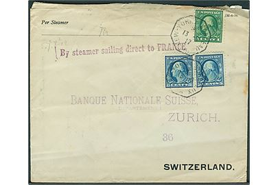 1 cent og 5 cents (par) Washington på skibsbrev fra New York annulleret med fransk skibsstempel New York - Bordeaux A d. 13.9.1917 til Zürich, Schweiz. Liniestempel By steamer sailing direct to France. Uden censur. Ank.stemplet Zürich d. 4.10.1917.