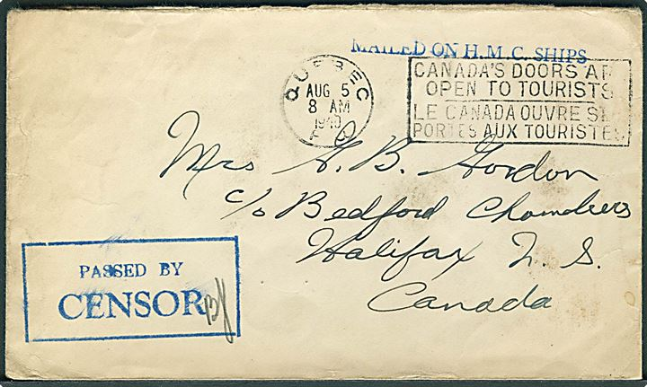 Ufrankeret flådepostbrev med stempel Mailed on H.M.C. Ships. fra Quebec d. 5.8.1940 til Mrs. G. B. Gordon i Halifax, N.S., Canada. Rammestempel på for- og bagside Passed by Censor. På bagsiden noteret: Ship Bras d'Or' reported missing Oct. 30th. 1940. Brevet er sendt fra det ombyggede fyrskib Lightship no. 25 som i sept. 1939 blev overtaget af den canadiske flåde som minestryger H.M.C.S. Bras d'Or. Skibet forsvandt omkring d. 19.10.1940 i stormvejr i  St. Lawrence bugten, hvor hele besætningen omkom, også afsenderen steward Gilbert B. Gordon fra Halifax.
