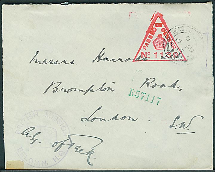 Ufrankeret britisk feltpostbrev stemplet Field Post Office G (= General Headquarters, BEF, Beauquesne, Frankrig) d. 17.8.1915 til London. Rødt censurstempel: Passed by Censor no. 1139 og afd.stempel: British Mission Belgian H.Q. Åbnet 3 sider.
