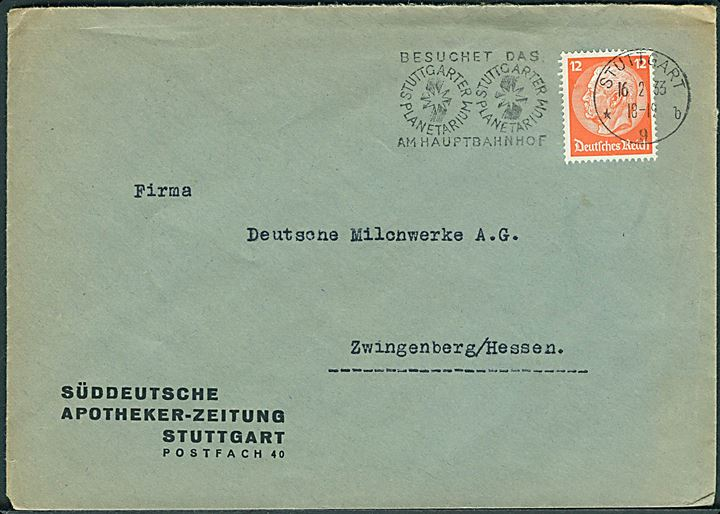 12 pfg. Hindenburg orange single på brev fra Stuttgart d. 16.2.1933 til Zwingenberg.