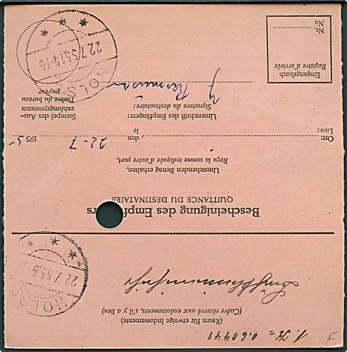 40 pfg. single på international postanvisning fra Hannover d. 20.7.1955 til Holse, Danmark. Ank.stemplet brotype IIc Holse d. 22.7.1955.