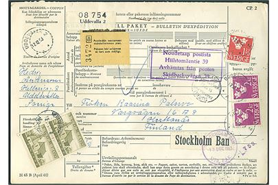 1,70 kr. og 2 kr. (par - ene defekt) Tre Kroner på internationalt adressekort for pakke fra Uddevalla d. 12.12.1963 via Stockholm og Turku til Herttonäs, Finland. Påast finsk 0,50 mk. i parstykke som gebyrmærke.