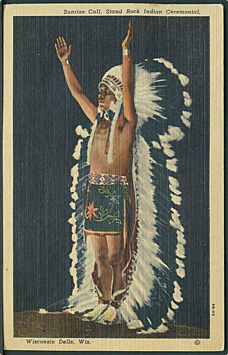 Sunrise Call, Stand Rock Indian Ceremonial. Indianer. Wisconsin Dells. C. T. Art - Colortone no. 9B - H5.