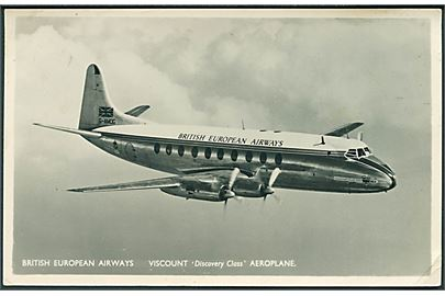 British European Airways. Viscount Discovery Class Aeroplane. Fotokort u/no.