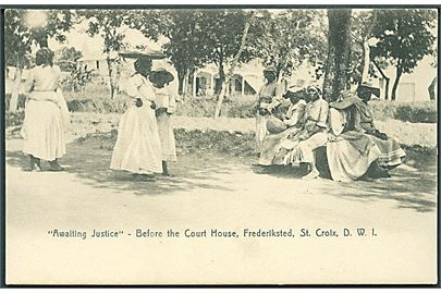 D.V.I., St. Croix, Frederiksted. Awaiting Justice - Before the Court House. Lightbourn St. Croix no. 8.