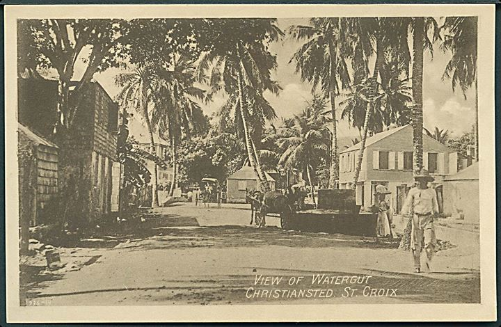 D.V.I., St. Croix, Frederiksted. View of Watergut. A. Lauridsen D.W.J. no. 1.
