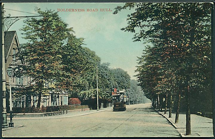 Holderness Road Hull med sporvogn no. 55, England. U/no.