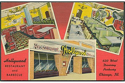 Reklamekort fra Restaurant  & Barbecue Hollywood, Chicago. C. T. Art - Colortone u/no.