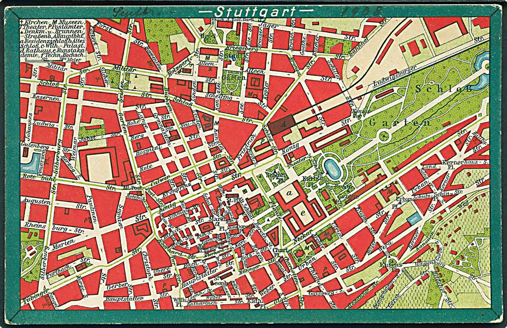 Kort Over Stuttgart Hans Wahnung U No Germany Postcard Unused
