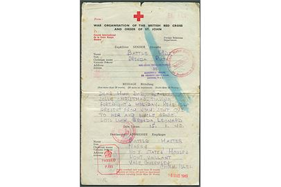 British Red Cross & Order of St. John formular fra London d. 15.1.1943 til Vale, Guernsey, Channel Islands. Flere Røde Kors og censur stempler.