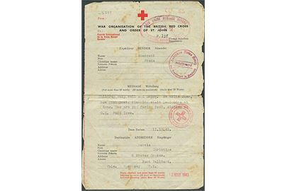 British Red Cross & Order of St. John formular fra London d. 11.12.1942 til Vale, Guernsey, Channel Islands. Flere Røde Kors og censur stempler.
