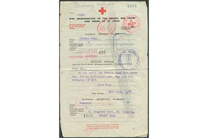 British Red Cross & Order of St. John formular fra London d. 18.6.1943 til St. Heliers, Jersey, Channel Islands. Flere Røde Kors og censur stempler.