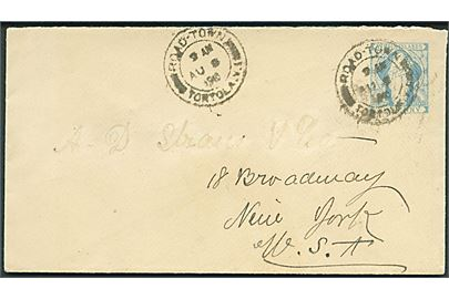 2d helsagskuvert fra Road Town Torola V.I. d. 8.8.1910 via St. Thomas d. 9.8.1910 til New York, USA.