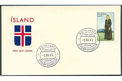 100 kr. Nationaldragt single på illustreret FDC fra Reykjavik d. 3.12.1965.