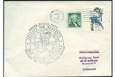 Amerikansk 6 cents på brev annulleret med feltpoststempel Army-Air Force Postal Service APO 121 (= Søndre Strømfjord Air Base) d. 17.8.1964 til Bellheim, Tyskland. Sidestemplet MSTS Sealift for Security 1964 Arctic Operations.