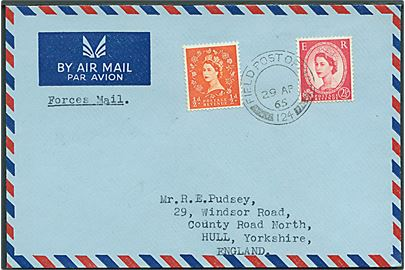 ½d og 2½d Elizabeth på Forces Air Mail brev stemplet Field Post Office 124 (= BFPO 640 Matsapa, Swaziland) d. 29.4.1965 til Hull, England. Fra 1st Bn Lancastershire Regiment (POWV).
