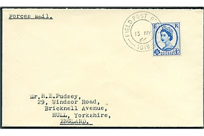 4d Elizabeth på Forces Mail brev stemplet Field Post Office 1019 (= BFPO 640 Matsapa, Swaziland) d. 13.5.1966 til Hull, England.