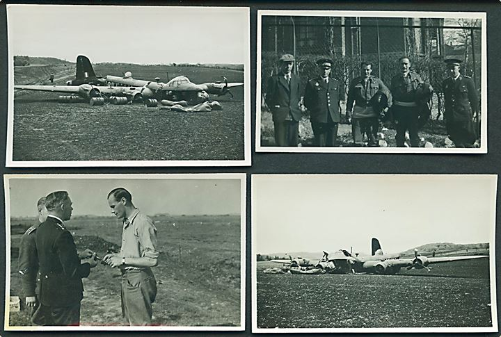 Aabenraa, nødlandet Royal Air Force Sterling OJ-O fra 149th Squadron ved Rise d. 18.5.1942. 4 fotos - heraf to med flyvraget og et med 2 tilfangetagne britiske flyvere. 5x8 cm.