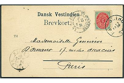 3 cents Tofarvet omv. rm. på brevkort (St. Thomas: Niskey Training School & Hospital fra St. Thomas d. 28.2.1901 via Le Havre til Paris, Frankrig.