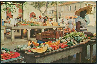 Dansk Vestindien. Colorful market - place scene in beautiful St. Thomas. Rohola photo supply no. 7422.