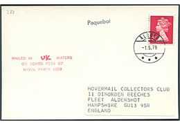 Engelsk 4d Elizabeth på brevkort (Royal Navy hovercraft) annulleret med postspare-stempel brotype IIh Ålborg d. 1.5.1979 og sidestemplet Paquebot til Aldershot, England. Skibsstempel: Mailed in UK waters on board P234 of Naval Party 1009. Naval Party 1099 = Royal Navy Hovercraft Unit.