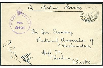 Ufrankeret OAS feltpostbrev stemplet Field Post Office 611 (= RAF Vagur) d. 13.7.1943 til Chesham, England. Violet Army censor type A5 No. 4104.