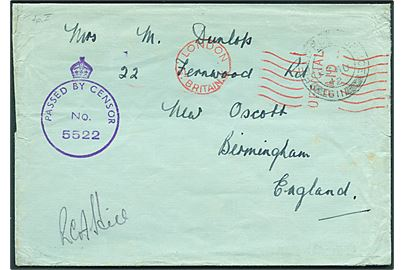 "Ufrankeret OAS feltpostbrev stemplet Field Post Office 611 (= RAF Vagur) d. 23.8.1943 til Birmingham, England. Transit stemplet ""London Gt. Britain / Official Paid"". Violet Army censor type A5 No. 5522."