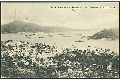 D.V.I., St. Thomas, U.S. Squadron in Harbour. Lightburn  u/no. Kvalitet 7