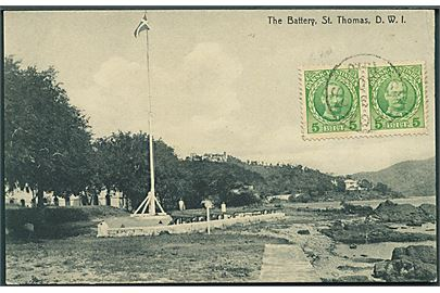 Dansk Vest Indien: The Battery, St. Thomas. Lightbourn's West India Series u/no. Frankeret med 5 bit Fr. VIII i parstykke stemplet St. Thomas 1910 til Belgien.