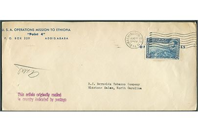 Etiopien 20 c. på fortrykt kuvert fra USA Operations Mission to Ethiopia, Point 4, Addis Ababa sendt med diplomatisk kurerpost og annulleret i Washington D.C. d. 16.8.1954 til Salem, USA. Sidestempel: This article originally mailed in country indicated by postage.