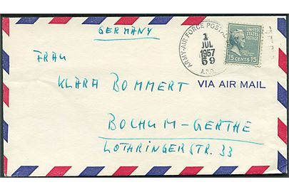 Amerikansk 15 cents Buchanan på luftpostbrev fra G.R.C.H. (German Red Cross Hospital) stemplet Army-Air Force Postal Service A.P.O. 59 (= Pusan, Korea) d. 1.7.1957 til Bochum, Tyskland.
