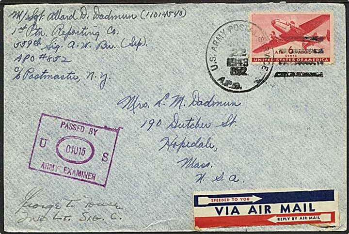 Amerikansk 6 cents Transport på luftpostbrev stemplet U.S.Army Postal Service APO 852 (= Camp Hardwood, Charlotte Amalie, St. Thomas, Virgin Islands) d. 22.4.1943 til Hopedal, USA. Fra 559th Signal Aircraft Warning Battalion (Sep.). Violet unit censor no. 01015. Sjælden feltpost fra St. Thomas.
