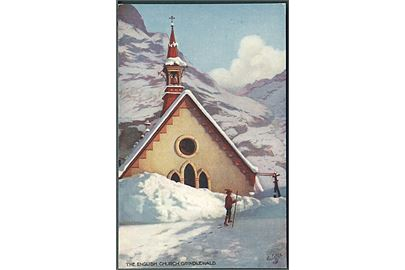 The English Church, Grindlewald. Raphael Tuck & Sons Oilette. Interlaken, Switzerland series II, no. 7664.