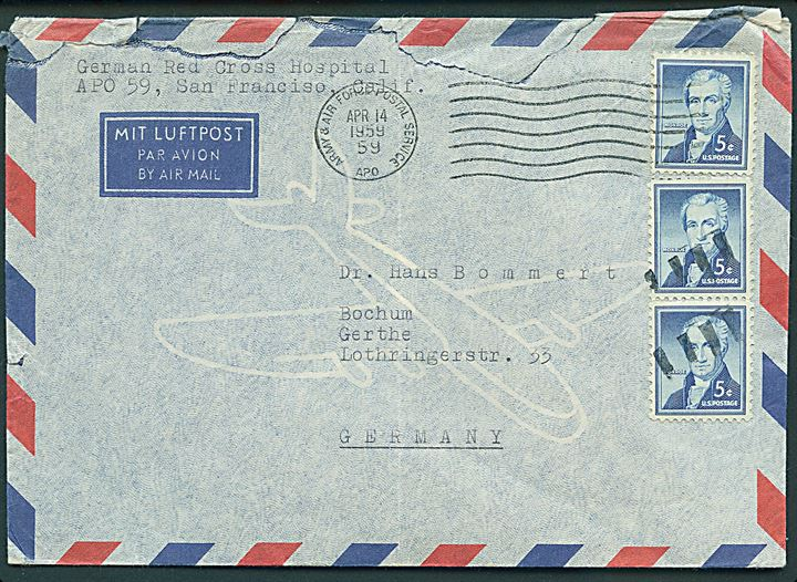 Amerikansk 5 cents (3) på luftpostbrev stemplet Army & Air Force Postal Service APO 59 (= Inchon, Korea) d. 14.4.1959 til Bochum, Tyskland. Sendt fra German Red Cross Hospital i Korea. Urent åbnet.