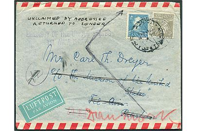40 øre og 50 øre Chr. X på luftpostbrev fra Espergærde d. 4.7.1949 til filminstruktøren Carl Th. Dreyer c/o The Mission of the United States, Tel Aviv, Palestina. Retur med påskrift Unclaimed by addressee / Returned to Sender og stemplet: Embassy of the United States / Tel Aviv Israel.
