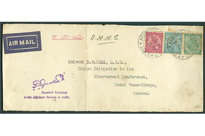 ½ a., 3 a. og 12 a. George V på FORSIDE af luftpostbrev stemplet Army Headquarters * Simla * d. 7.5.1932 til Indian Delegation to the Disarmament Conference, Geneva, Schweiz. Lodret fold.