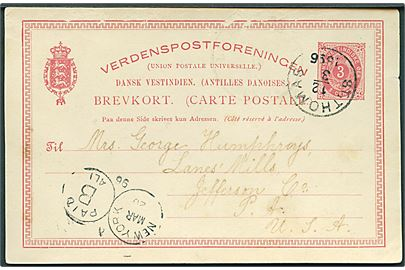 3 cents helsagsbrevkort stemplet St: Thomas d. 12.3.1896 via New York til Lanes' Mills, Jefferson Co., USA. Kortet er lidt skrammet.