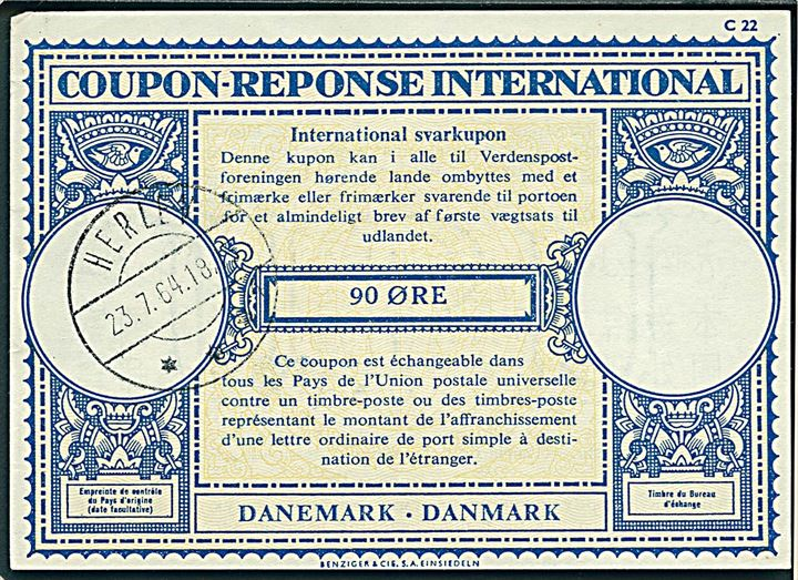 90 øre International Svarkupon stemplet Herlev d. 23.7.1964.