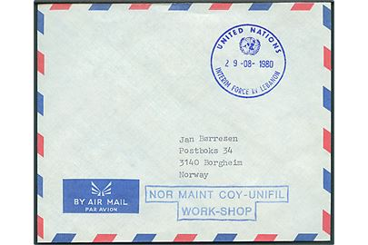 Ufrankeret luftpostbrev stemplet UNITED NATIONS INTERIM FORCE IN LEBANON d. 29.8.1980 og sidestemplet NOR MAINT COY - UNIFIL / WORK-SHOP til Borgheim, Norge.