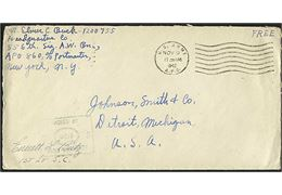 Amerikansk free mail brev stemplet U.S.Army APO d. 9.11.1942 til USA. Fra 556th Signal Air Warning Battalion APO 860 = Reykjavik, Island. Unit censor no. 00972.
