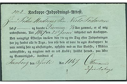 Koekoppe-Indpodnings-Attest dateret Faaborg d. 3.7.1847.