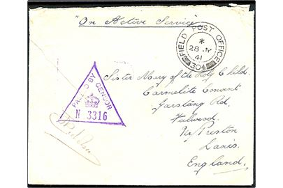 Ufrankeret On Active Service feltpostbrev med feltpoststempel Field Post Office 304 (= Akureyri) d. 28.7.1941 til England. Violet unit censor no. 3316.